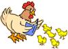 Cartoon hen reading a book to five chicks.