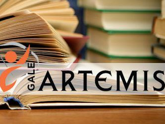 Artemis Logo in front of a stack of books