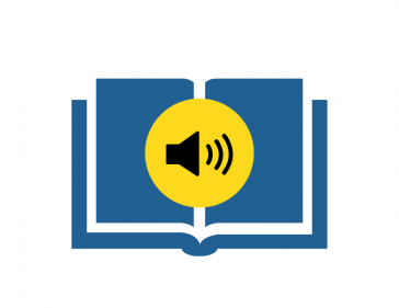 Audio icon inside an open book