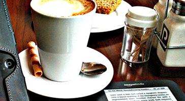 Ereader on cafe table