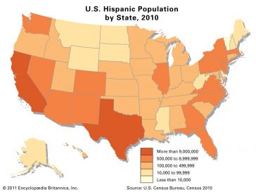 Map of US showing population of Hispanic Americans