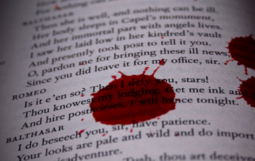 Blood-stained book page - Image adapted from one by Flickr user  Emerson Utracik (EP)