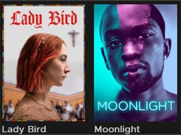 Movie posters of Lady Bird and Moonlight