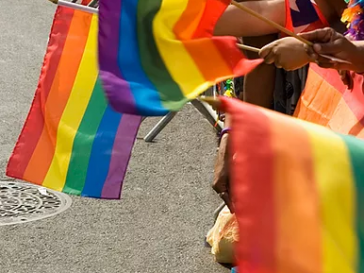 Rainbow colored Flags at a parade