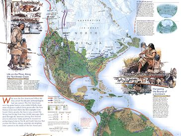 Infographic Map of the Americas through history