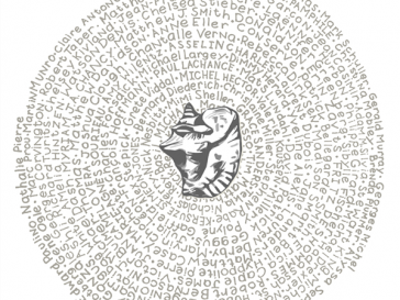 wheel of text around a shell sketch