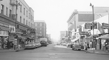 Historical black and white photograph of Telegraph Ave