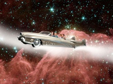 Family in a car in space