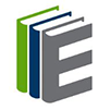 "SimplyE logo- a horizontal row of books with the Capital ""E"" on the visible cover of the last book."