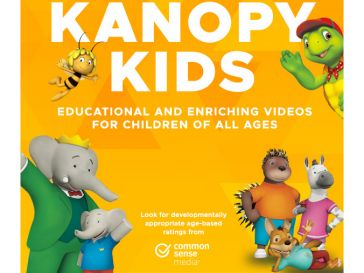 Still images of animated favorites such as Babar and Badoo on Kanopy Kids