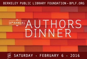Authors Dinner text on yellow orange and red brick wall